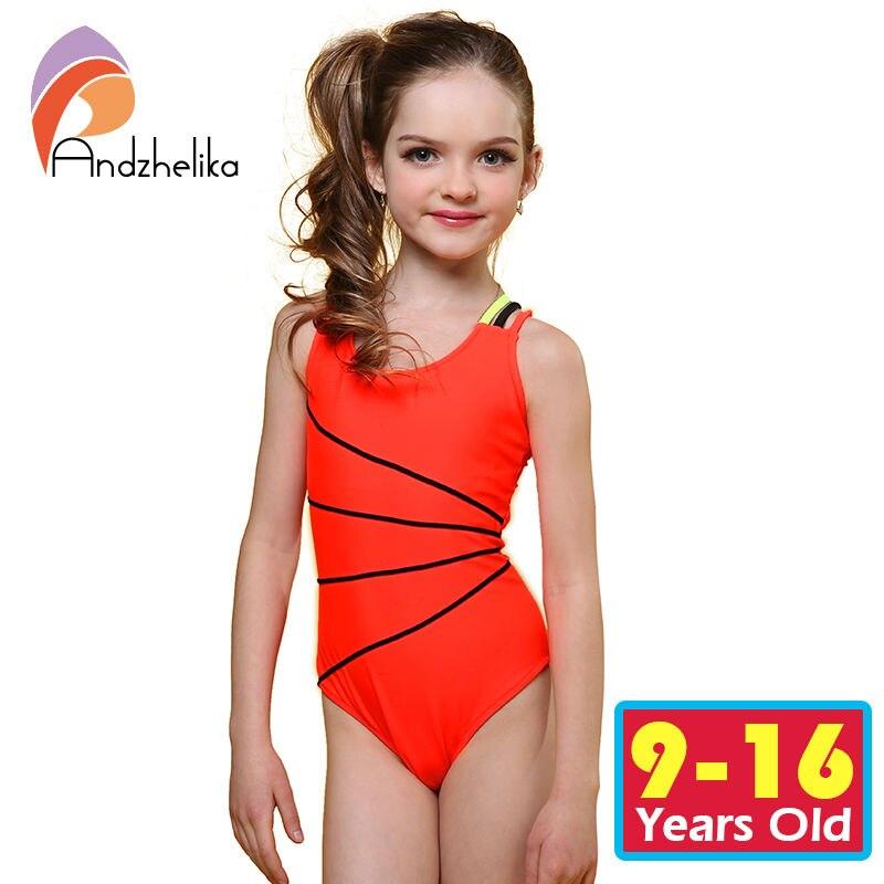 Andzhelika 2017 Swimsuit Girls One Piece Swimwear Solid Bandage Bodysuit Children Beachwear Sports Swim Suit Bathing