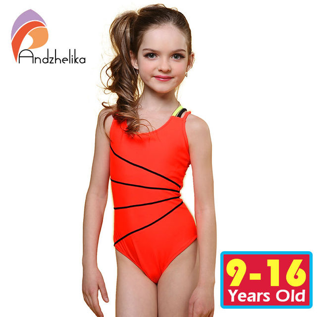 Andzhelika 2017 Swimsuit Girls One Piece Swimwear Solid Bandage Bodysuit Children Beachwear Sports Swim Suit Bathing Suit AK8675