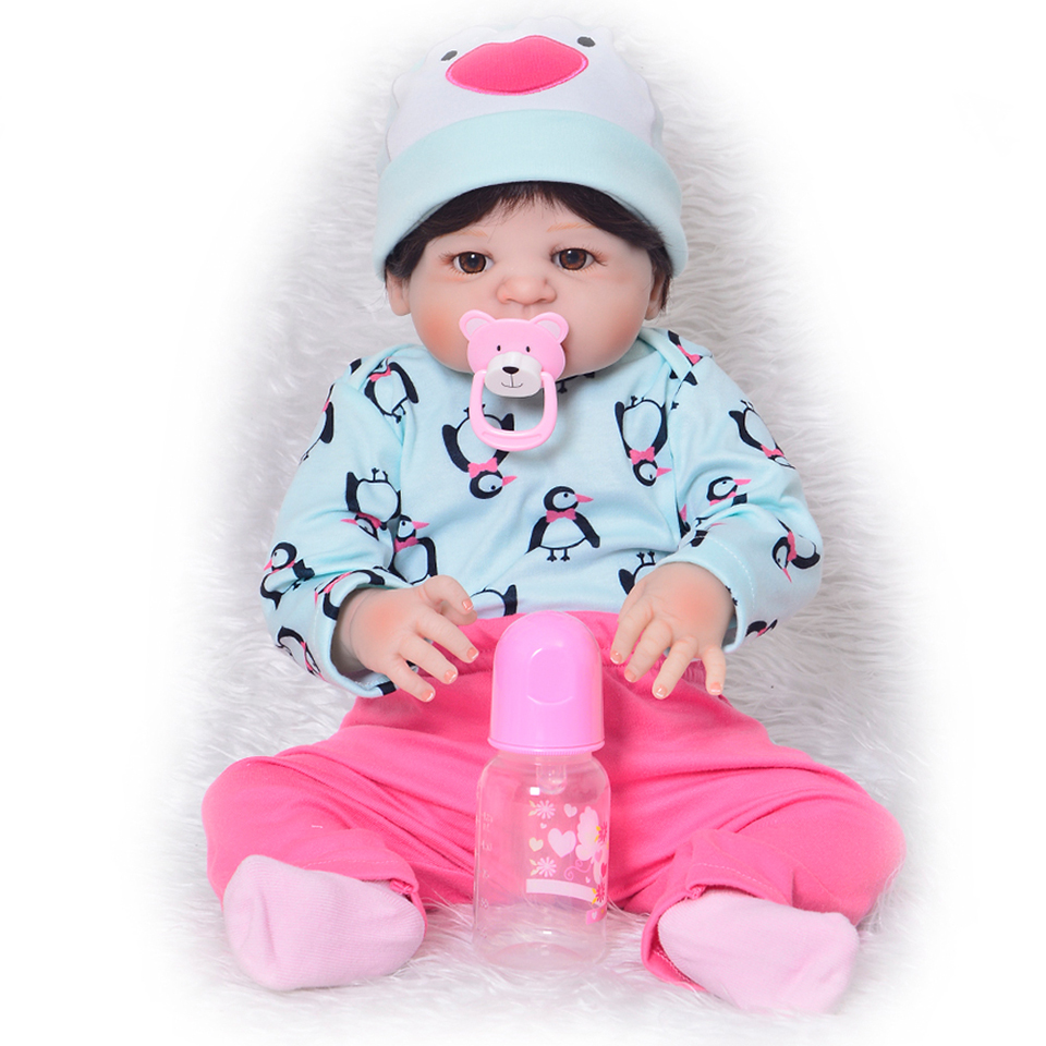 Realistic 23 Inch Reborn Baby Dolls 57 cm Kids Playmates Girl and Boy Full Silicone Vinyl Baby Doll Brinquedos For kids Gifts 11 newborn dolls mini full silicone vinyl body reborn baby dolls realistic boy and girl twins fashion bebe playmates for gifts
