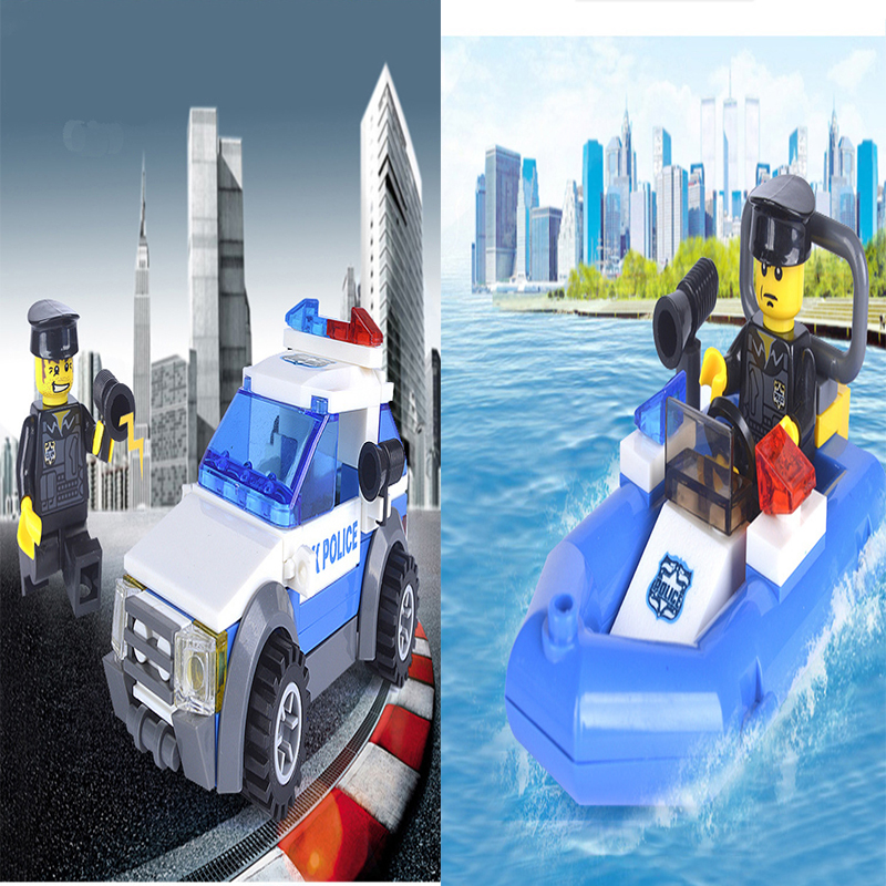 2 styles of hot selling products city police rescue boats police cars assembly Building blocks military toy for children gift