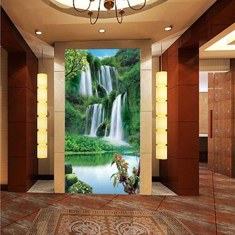 Custom 3D stereoscopic large mural entrance corridor landscape wallpaper background fabric wall paper Castle Falls expand space custom 3d stereoscopic large mural entrance corridor landscape wallpaper background fabric wall paper castle falls expand space