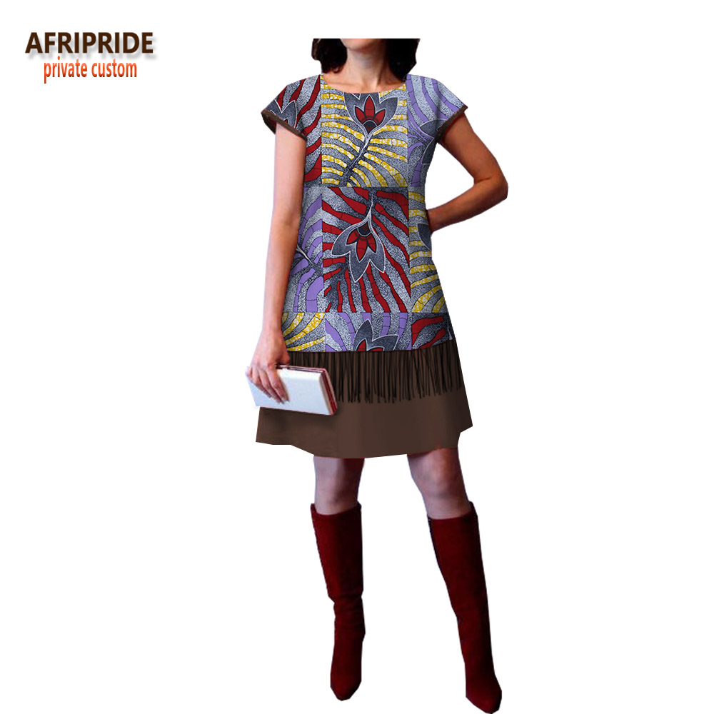 2018 spring african casual A Line dress for women AFRIPRIDE short sleeve o neck above knee length women cotton dress A1825018 in Dresses from Women 39 s Clothing