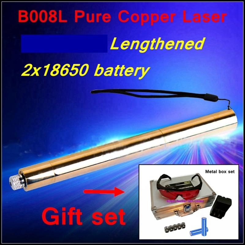 [ReadStar]RedStar Lengthened tube style B008L high burn match Blue Laser pointer laser pen metal box set 2x18650 battery