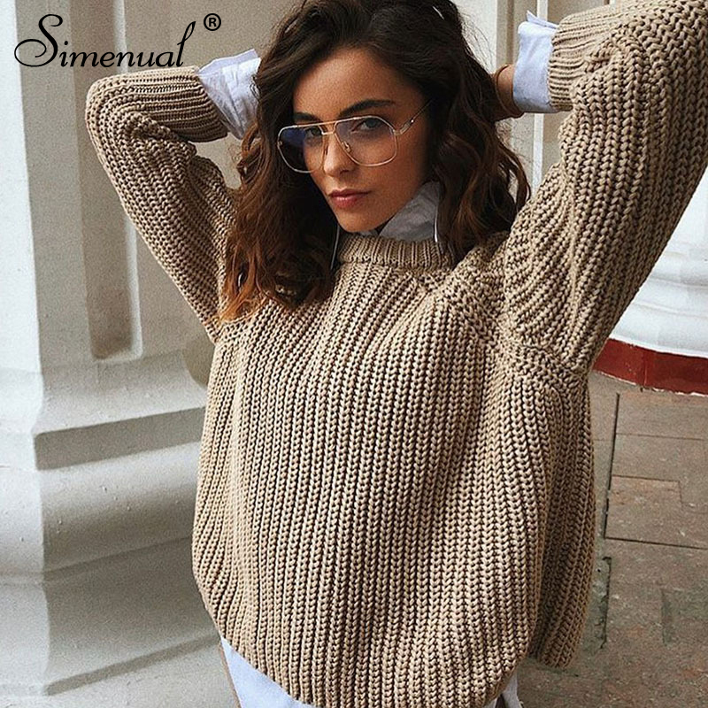 Simenual Casual Fashion Knitted Sweater Women 2019 Autumn Winter Pullovers Jumpers Solid Basic Long Sleeve Slim Khaki Sweaters