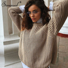 Simenual Casual Fashion Knitted Sweater Women 2019 Autumn Winter Pullovers Jumpers Solid Basic Long Sleeve Slim Khaki Sweaters цена
