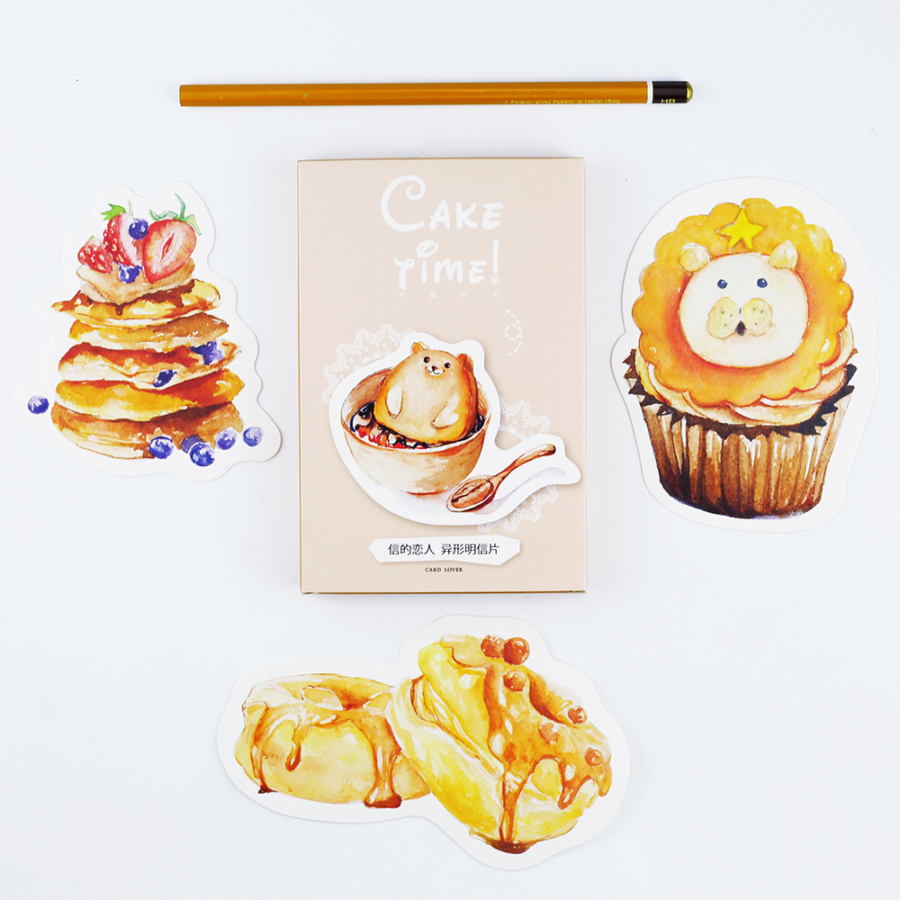 30pcs /1lot Cute Cake Time Greeting Cards Postcards Birthday Letter Business Gift Card Set Message Card II1-04