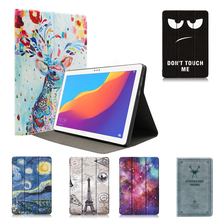 Painting Tablet Holder Stand Flip Case For Huawei MediaPad T5 10.1 AGS2-W09/L09/L03/W19 Leather Cover Protective Case Coque slim business retro flip stand cover case for huawei mediapad m5 lite 10 case bah2 w09 bah2 l09 bah2 w19 10 1 tablet shell