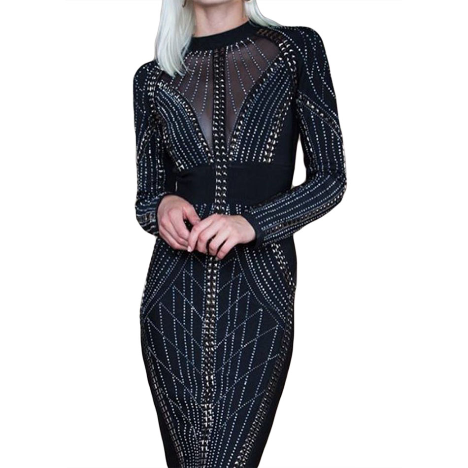 2018 New Fashion Winter White Black Beadings Bandage Dress Vestidos Sexy Long Sleeve Bodycon Dresses Evening Party Dress artsu casual bodycon knitted dress slim long sleeve sexy split button midi dresses women autumn winter party vestidos asdr30434