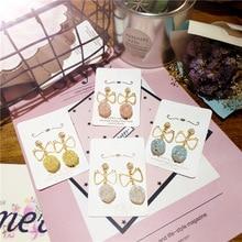 Korea Handmade Shiny Resin Ball Alloy Bowknot Women Drop Earrings Dangle Fashion Jewelry Accessories-JQD5