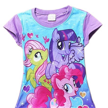 Retail 2016 Fashion Baby Girls Kids Children Summer My Little Pony T Shirt Girl's 3D Printer Cotton T-Shirt 20G