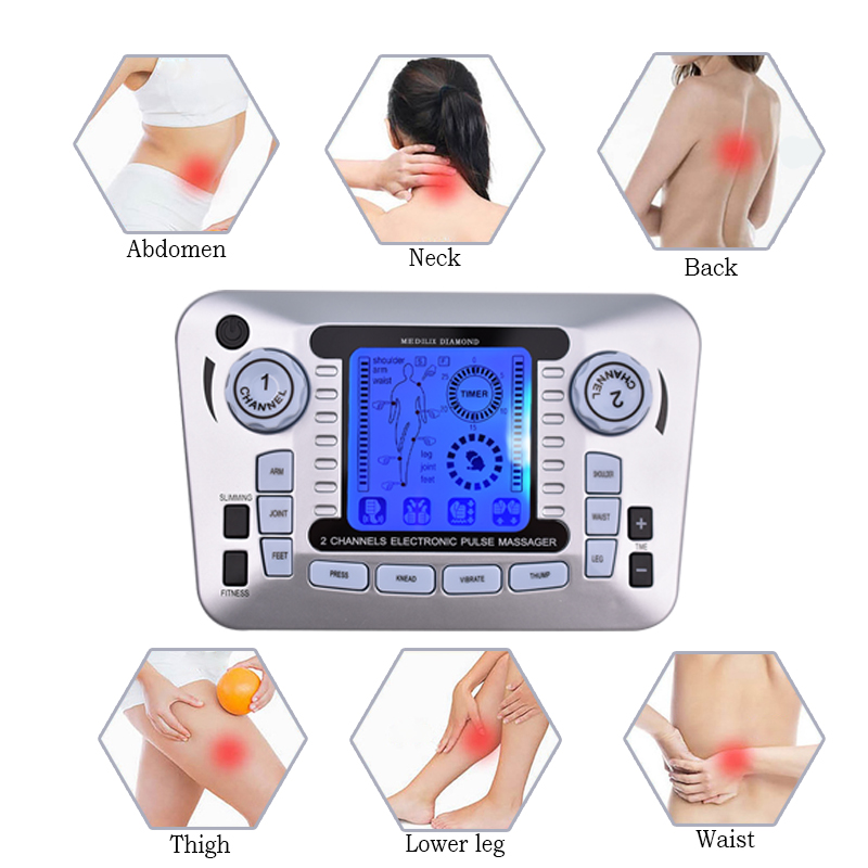 Dual-Output Electric Massager Electrical Muscle Stimulator Tens Acupuncture Pulse Therapy Machine Full Body Massager Pain Relief hot electric slimming full body relax pulse muscle stimulator tens therapy machine massager vibrateur with 20pcs tens pads