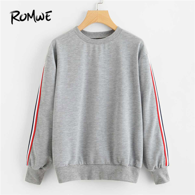 Grey Stripe Tape Detail Pullover Female Casual Sweatshirt