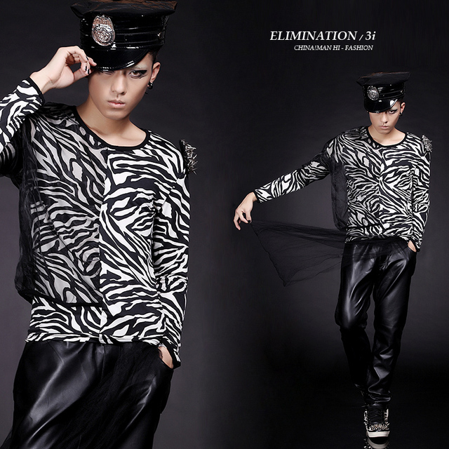 314465c8cc4bd Costumes ! novelty men's clothing patchwork faux two piece irregular zebra  print slim long-sleeve T-shirt