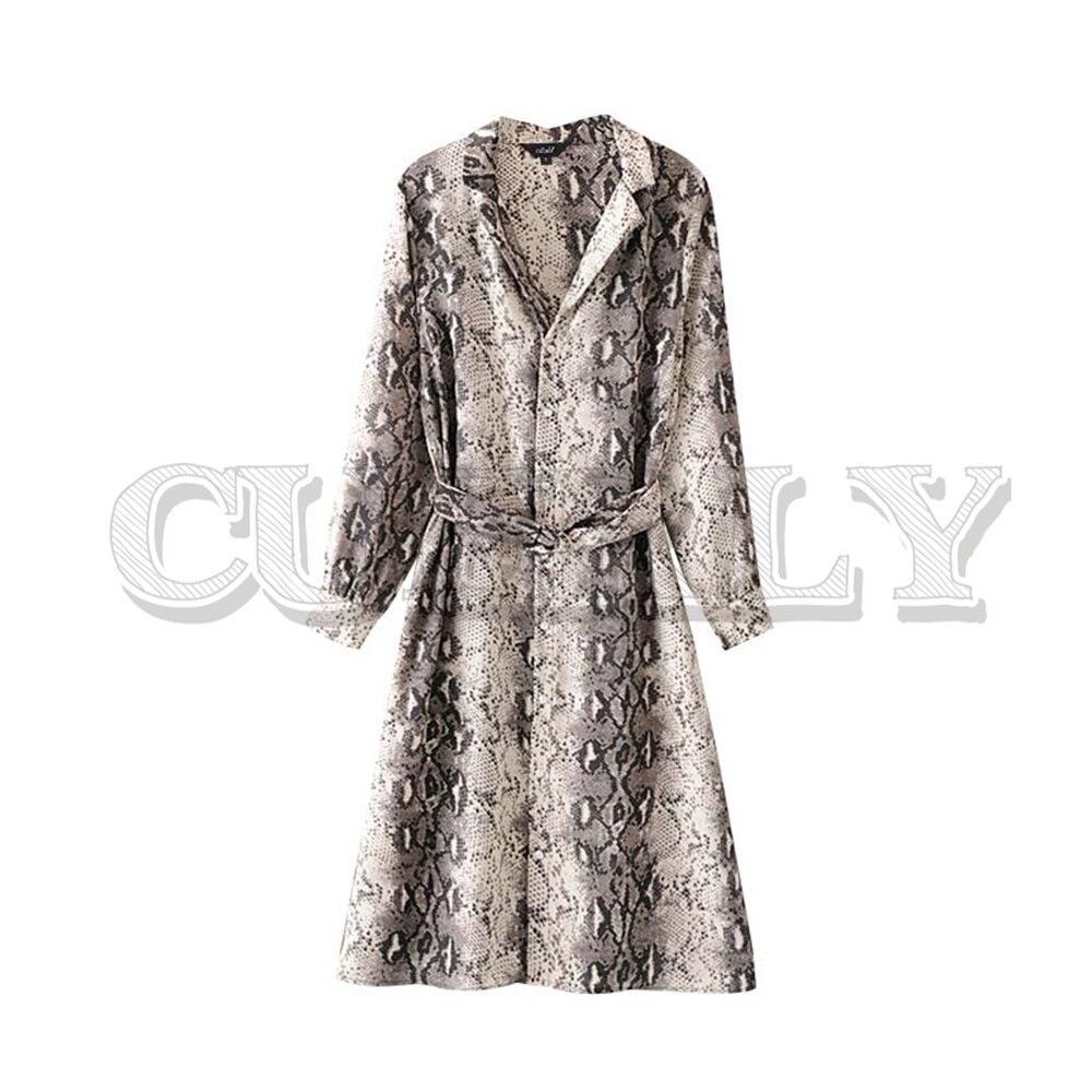 CUERLY women snake skin print midi dress long sleeve sashes turn down collar animal pattern female sexy fashion dresses