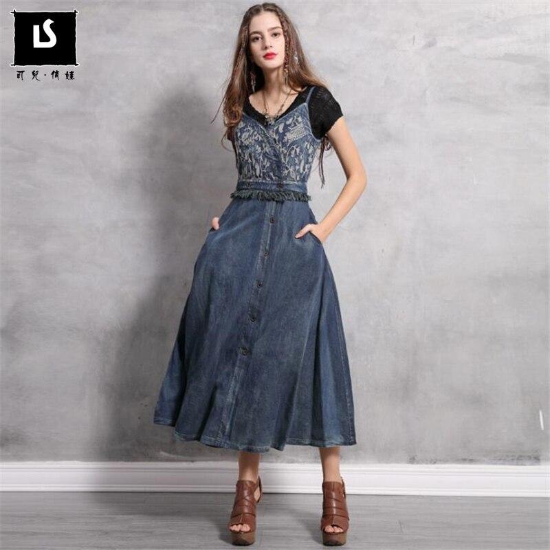 New Women Sexy sling Dress 2019 Spring Summer Vintage Embroidery Denim Dresses V Neck Tassel design