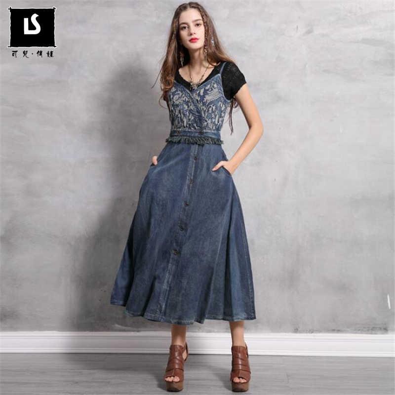 Новое женское сексуальное на завязках платье 2019 сезон: весна–лето Винтаж вышивка джинсовые платья с v-образным вырезом, женская обувь на молнии, узор с орнаментом, платье, Vestido, одежда для девочек,