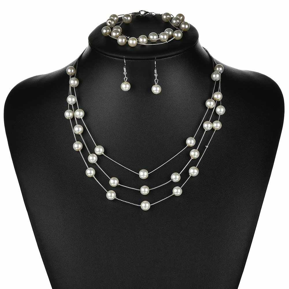 Fashion Imitation Pearls Silver Gold Jewelry Sets Earrings Pendant Necklace Bracelet Women Bridal Wedding Valentine's Day Gift