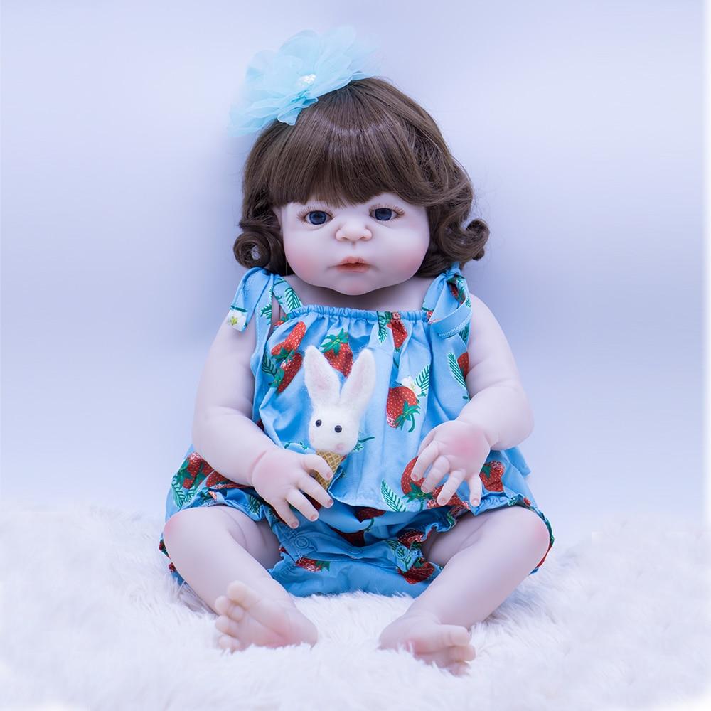 Hard Silicone Vinyl Lifelike Curly Princess Baby Bonecas Girl Diy Bebe Reborn Dolls And Blue Suspenders Toys Menina De 55cm Lol