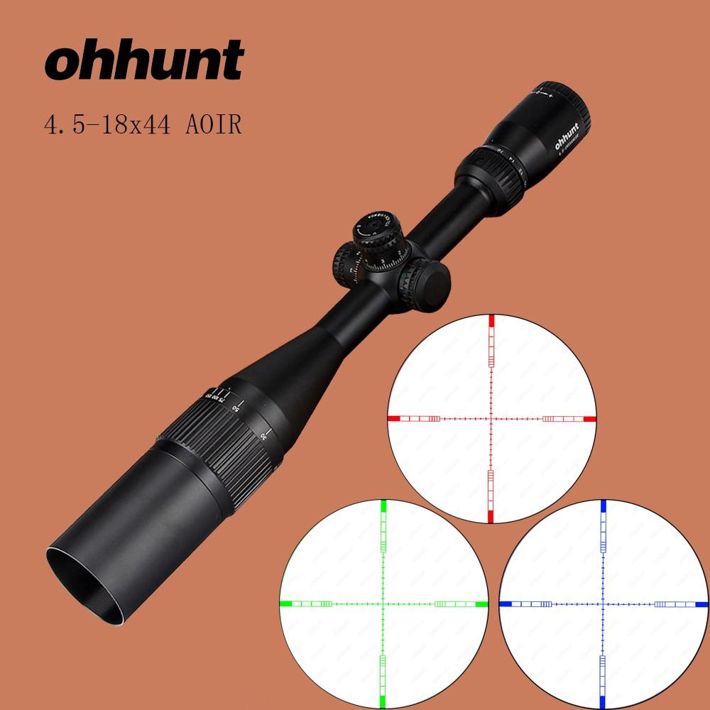 ohhunt 4.5-18x44 AOIR Tactical Optics Sights RGB Glass Illumination Reticle with Windage Elevation Lock Rifle Scope ohhunt 2 5 10x40 aoir hunting optics sights rgb half mil dot illumination reticle with windage elevation lock reset rifle scopes