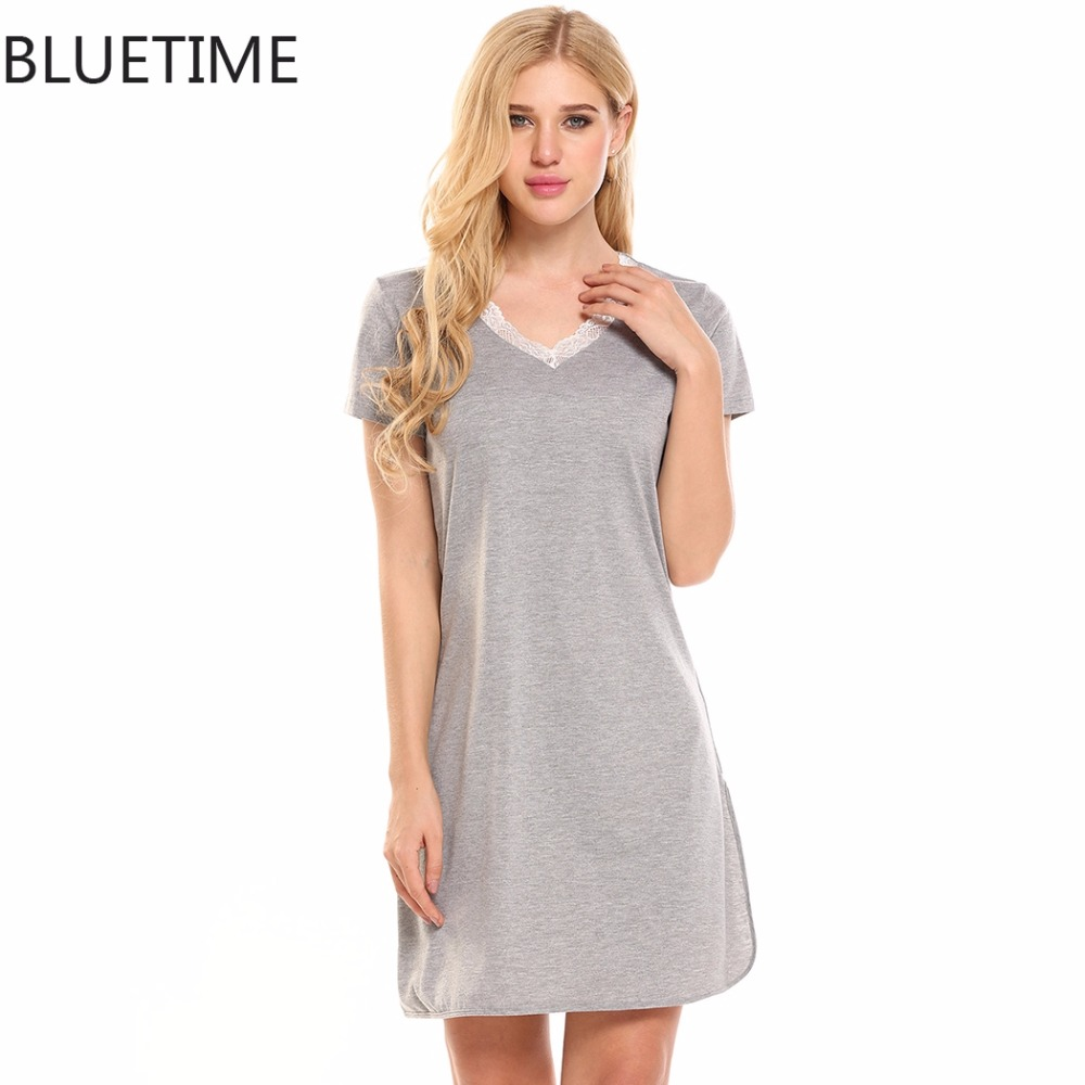 Bluetime Sexy Nightgown Women Big Size Lace V Neck Patch -4072
