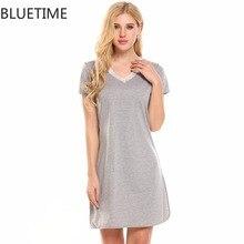 Bluetime сексуальная ночная рубашка женские большие размеры Кружева V шеи патч Ночное платье Ночная рубашка пижамы домашнее платье Ночное одежда 30A5