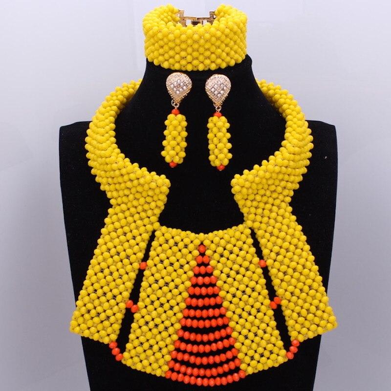 Wholesale Dudo Nigerian Necklace Beads Jewelry Set Yellow & Orange Majalia Choker Jewelry Sets For Bridal Women Free ShippingWholesale Dudo Nigerian Necklace Beads Jewelry Set Yellow & Orange Majalia Choker Jewelry Sets For Bridal Women Free Shipping