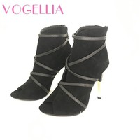 2018 New Fashion Woman Faux Suede Pumps Sexy Open Toe Ankle Boots Slip On Deep V Cut High Heel Lady Autumn Shoes 1