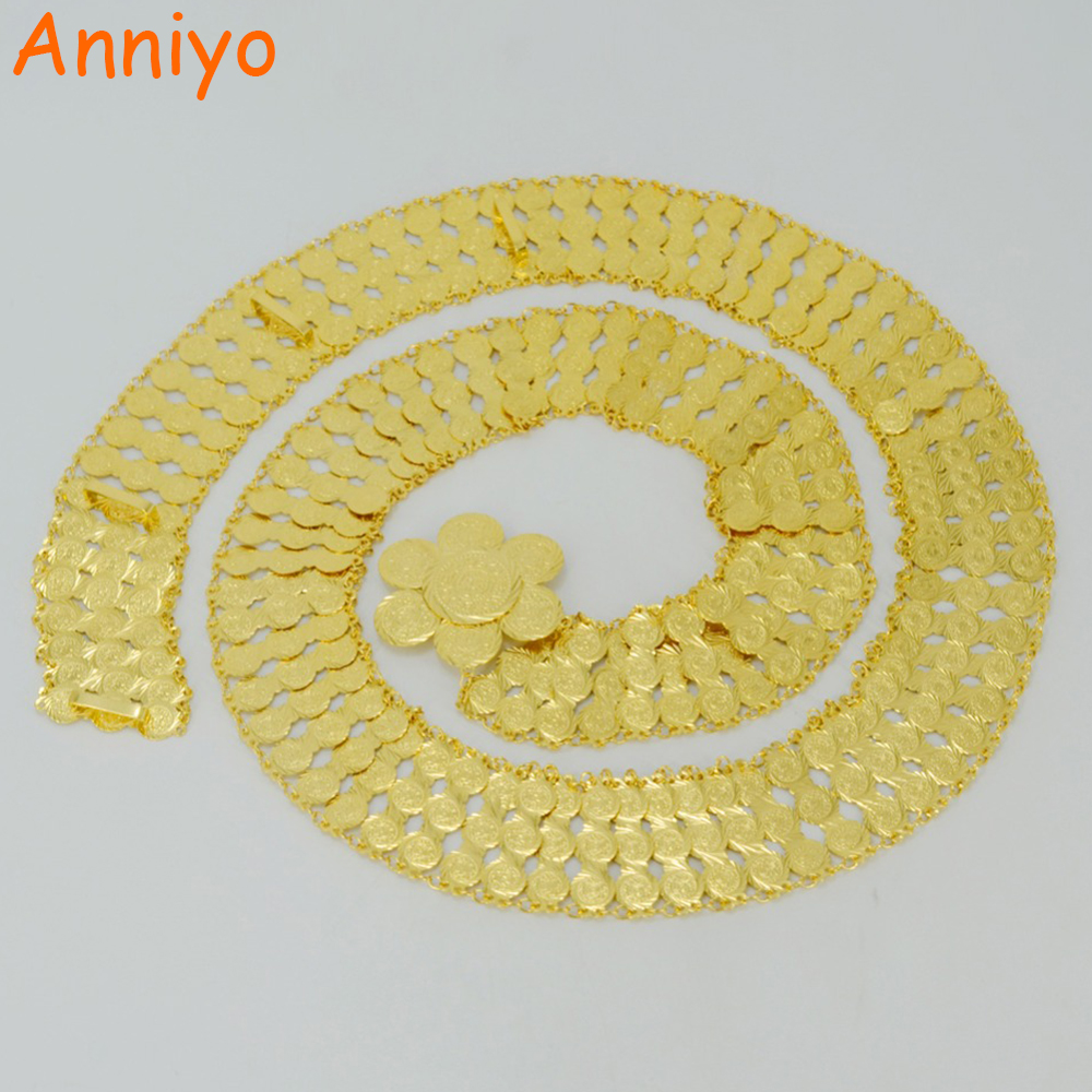 Anniyo Length 109cm Arab Metal Coin Belt Chain for Women Jewelry Gold Color Wedding Belts Middle