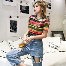 New Women Fashion Letter Printed Colorful Striped Short Sleeve T Shirt Female Summer Sexy Korean O Neck Casual T-Shirt цена