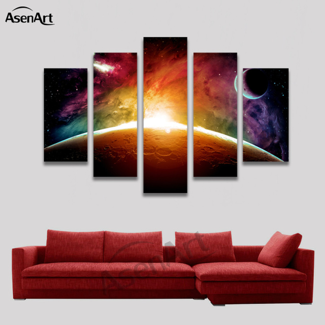 Lovely Amazing Outer Space Painting Star Moon 5 Panel Wall Art Canvas Prints  Artwork Picture For Living