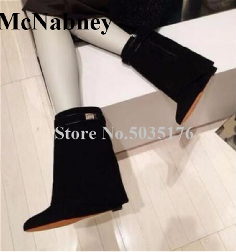 2019 European New Fashion Sexy Solid Round Toe Height Increasing Mid-Calf Buckle Strap Short Boots Spring/Autumn Women Shoes2019 European New Fashion Sexy Solid Round Toe Height Increasing Mid-Calf Buckle Strap Short Boots Spring/Autumn Women Shoes