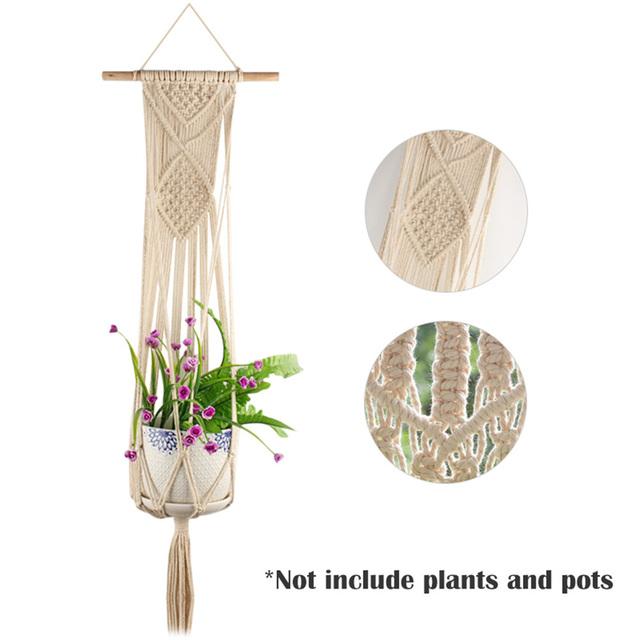 Vintage Knotted Plant Hanger Basket Green Flowerpot Macrame Lifting Rope Plant Hanger Pot Holder Garden Hanging Flower Display