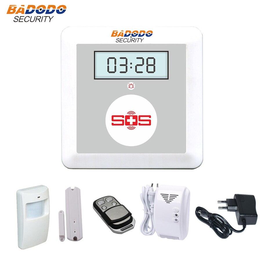 Badodo alarme gaz GSM système d'alarme pour système de sécurité à domicile pousser pour parler SOS système d'alarme détecteur de gaz alarme de fuite de gaz K4 kit de bricolage
