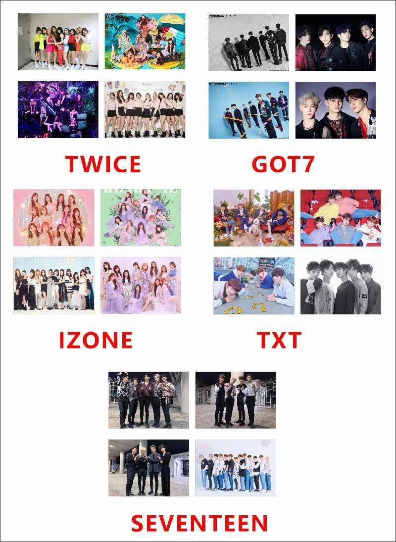 Kpop Blackpink Mười Bảy Izone TXT GOT7 Hai Lần Chụp Ảnh Poster Lưng Keo Dán 4 Cái/bộ Treo Tường Trang Trí
