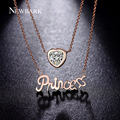 NEWBARK Lovely Heart Pendant Chain Princess Necklace Rose Gold Plated CZ Diamond Multi Layers Fashion Jewelry