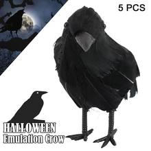 5pcs Black Raven Crow High Simulation Animal Life-like Birds Haunted Spooky Halloween Party Halloween Decor Prop(China)
