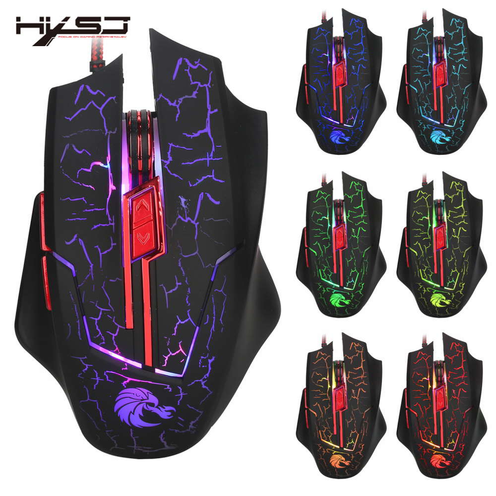ᗔHXSJ luminescencia 6D patrón grieta Wired juego Gaming Mouse H800 ...