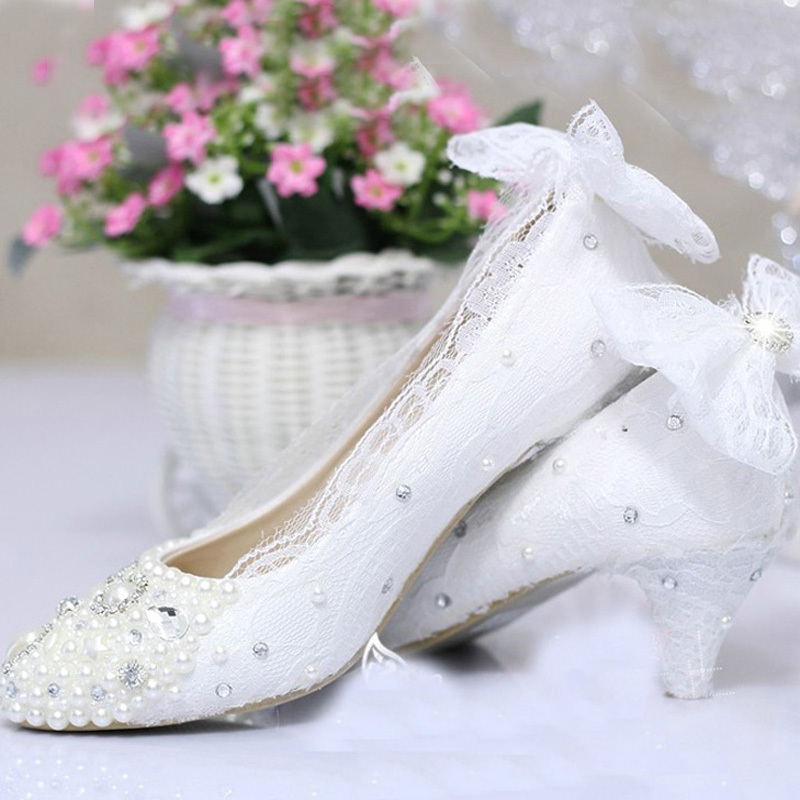 ФОТО Free Shipping new fashion women's shoes lace high heel pearl wedding shoes White Color Middle Heel Celebration Prom Shoes
