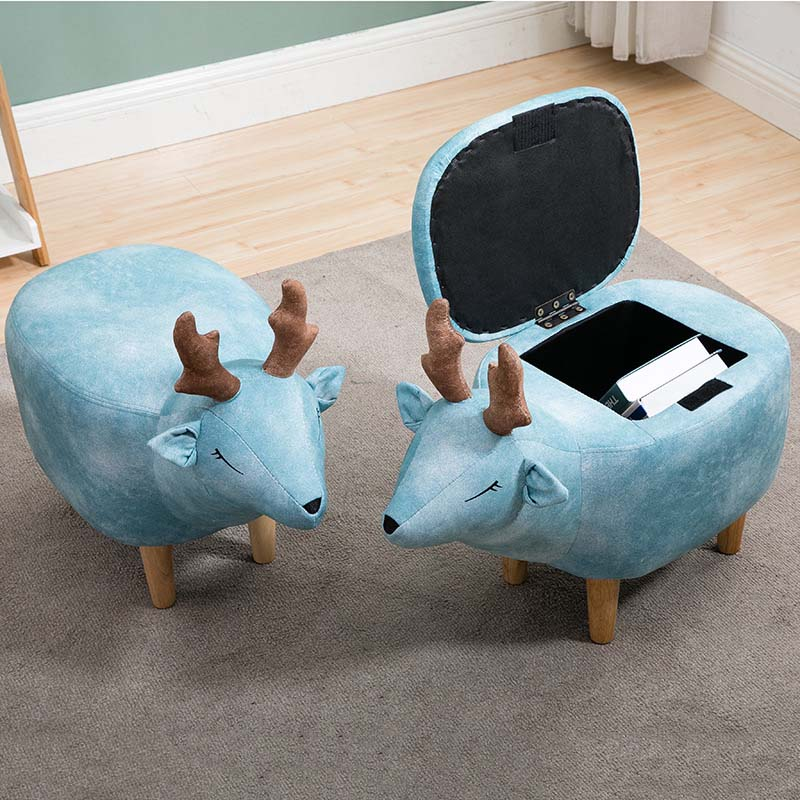 New Household Low Foot Stool Small Cartoon Animal Wood Bench Kids Children Chair Living Room Small