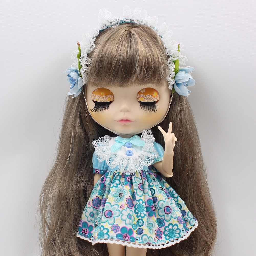 Neo Blythe Doll Blue Flower Outfit With Headdress Dress 2