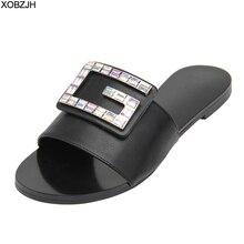 Summer Shoes Women Flat Designer Sandals 2019 G Luxury Brand Style Rhinestone Ladies Leather Black Slippers Woman