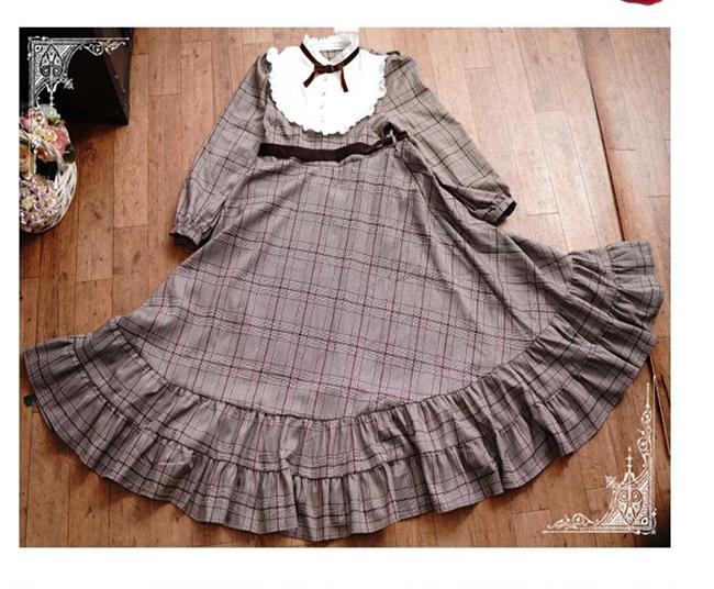 Plaid Partie Tunique Lolita Longue Fille Princesse Pour Pic Maxi Japonais Color Robe Mori Femme Robes Femmes Vintage Ruches Mignon qZfnxwtwY