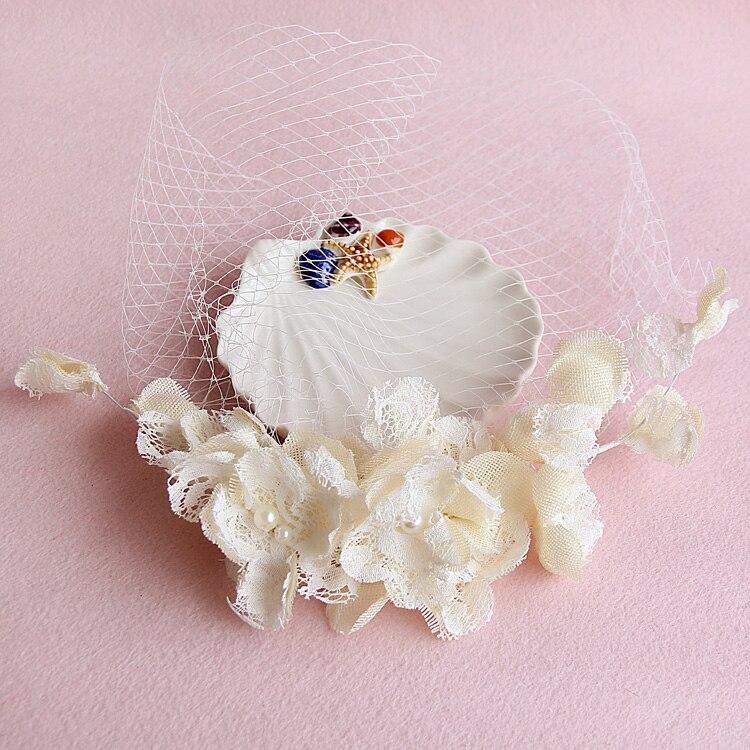 Vintage Elfenbein Tüll Kappe Vogelkäfig Hochzeit Zubehör Brautschleier Birdcage Brautschleier Kurz Braut Zubehör