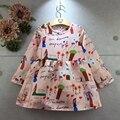 Vestido de Las Muchachas lindas Vestido O Cuello de la Manga Larga de Algodón Vestidos para chica imprimir un line niños ropa nueva historieta de los niños ropa