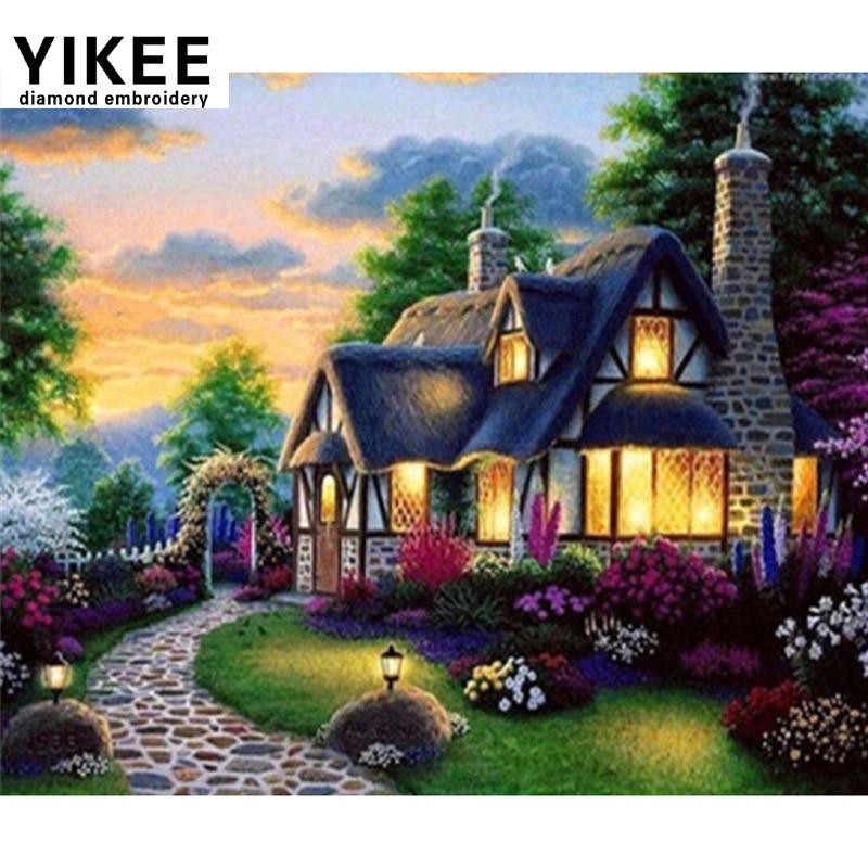YIKEE 6013 casa diamante pittura a punto croce, fai da te, 5d, - Arti, mestieri e cucito
