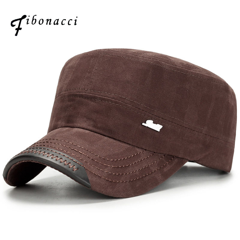 Fibonacci Classic Men Snap Back Caps Military Hats Patrol Cap Adjustable Flat Top Hat
