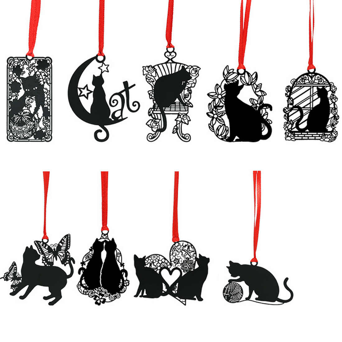 FangNymph Cute Creative Hollow Bookmarks Black Cat Series Metal Sainless Steel Bookmark Student Stationery Gifts