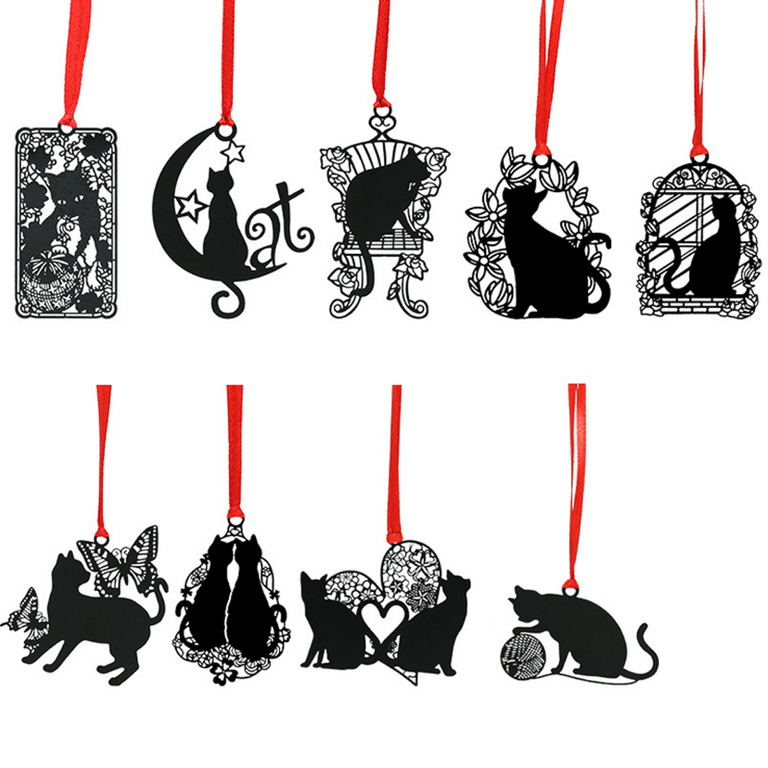 FangNymph Creative Black Cat Series Hollow Bookmarks Metal Sainless Steel Bookmark Lovely Student Stationery Gifts
