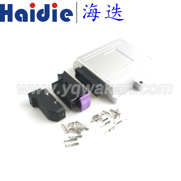 Free shipping 1set ECU connector modified aluminum shell plug car controller control box, generator control panel connector free delivery car engine computer board ecu 0261208075