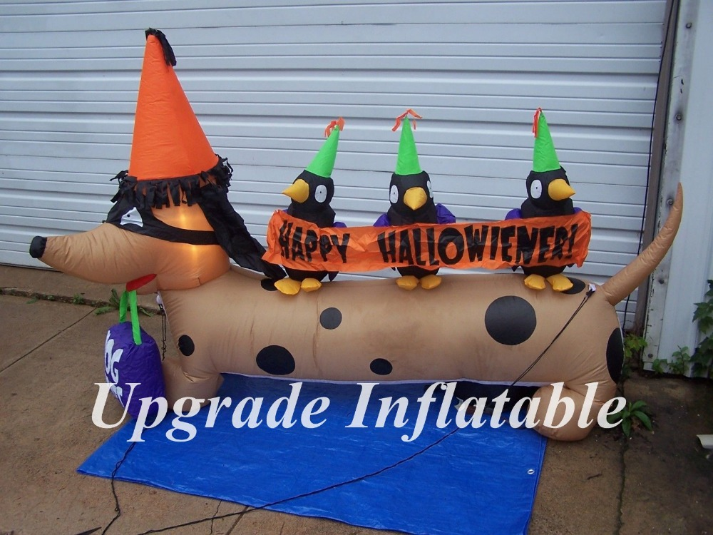3m long outdoor halloween inflatable dog weenie dachshund for yard decoration